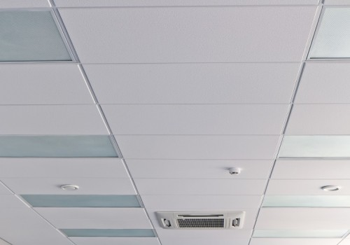Office ceiling with air duck, fire detector and lamps